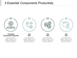 4 Essential Components Productivity Ppt Powerpoint Presentation Summary Microsoft Cpb