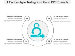 4 Factors Agile Testing Icon Good Ppt Example
