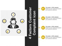 4 Factors Customer Complaint Icon Powerpoint Templates