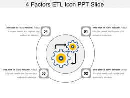4 Factors Etl Icon Ppt Slide
