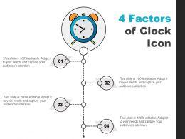 4 Factors Of Clock Icon Powerpoint Slide Ideas