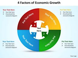 4 factors of economic growth powerpoint diagrams presentation slides graphics 0912