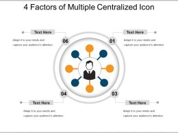 4 Factors Of Multiple Centralized Icon Powerpoint Slide Ideas