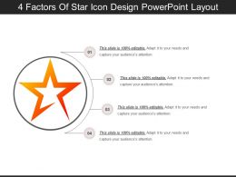4 Factors Of Star Icon Design PowerPoint Layout