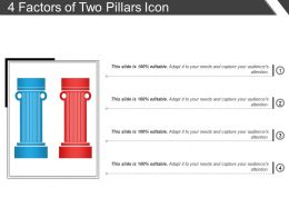 4 Factors Of Two Pillars Icon Powerpoint Slide Deck