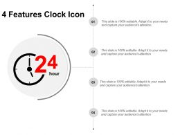 4 Features Clock Icon Powerpoint Slide Influencers