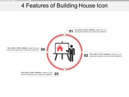 4 Features Of Building House Icon Powerpoint Slide
