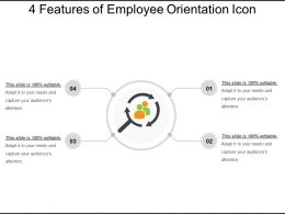 4 Features Of Employee Orientation Icon Ppt Inspiration