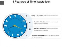 4 Features Of Time Waste Icon Powerpoint Templates