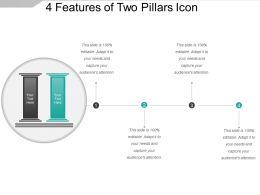 4 Features Of Two Pillars Icon Powerpoint Slide Images