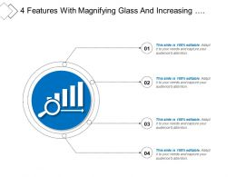 4 Features With Magnifying Glass And Increasing Performance Icon