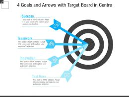 4 Goals And Arrows With Target Board In Centre
