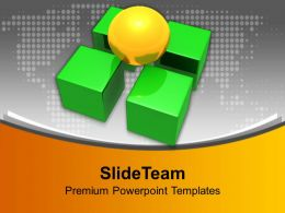 4 Green Dices Carrying Yellow Ball Team Powerpoint Templates Ppt Themes And Graphics 0313
