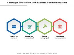 4 Hexagon Linear Flow With Business Management Steps