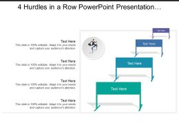 4 Hurdles In A Row Powerpoint Presentation Templates