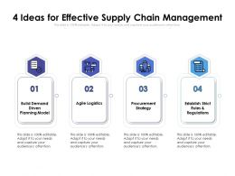 4 Ideas For Effective Supply Chain Management