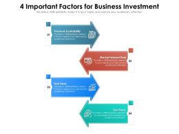 4 Important Factors For Business Investment