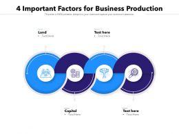 4 Important Factors For Business Production