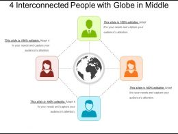 4 Interconnected People With Globe In Middle