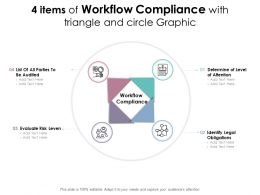 4 Items Of Workflow Compliance With Triangle And Circle Graphic