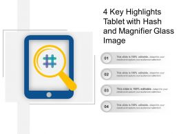 4 Key Highlights Tablet With Hash And Magnifier Glass Image