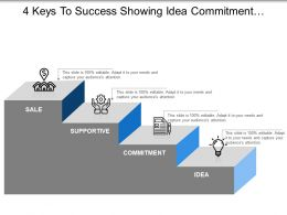 4 Keys To Success Showing Idea Commitment Supportive And Sales