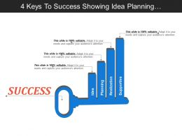 4 Keys To Success Showing Idea Planning Realization And Supportive