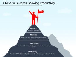 4 Keys To Success Showing Productivity Leadership Marketing And Teamwork
