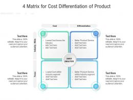 4 Matrix For Cost Differentiation Of Product