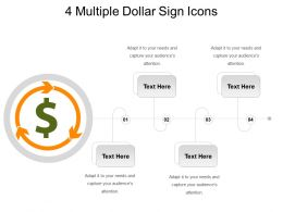 4 Multiple Dollar Sign Icons Powerpoint Slide Show