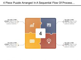 4 Piece Puzzle Arranged In A Sequential Flow Of Process With Icon