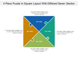 4 Piece Puzzle In Square Layout With Different Seven Section