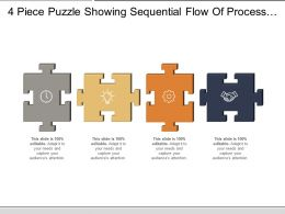 4 Piece Puzzle Showing Sequential Flow Of Process With Respective Icon