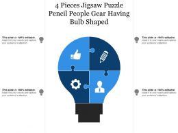 4 Pieces Jigsaw Puzzle Pencil People Gear Having Bulb Shaped