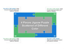 4 Pieces Jigsaw Puzzle Scattered Of Different Color