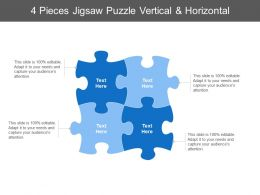 4 Pieces Jigsaw Puzzle Vertical And Horizontal
