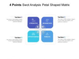 4 Points Swot Analysis Petal Shaped Matrix
