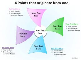 4 points that originate from one ppt slides diagrams templates powerpoint info graphics