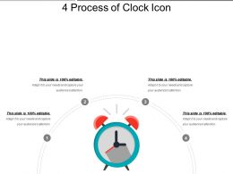 4 Process Of Clock Icon PowerPoint Slide Rules