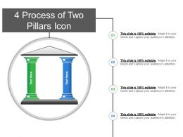 4 Process Of Two Pillars Icon PowerPoint Slide Show