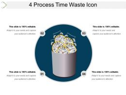 4 Process Time Waste Icon Ppt Design Templates