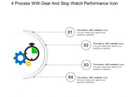 4 Process With Gear And Stop Watch Performance Icon