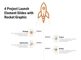 4 Project Launch Element Slides With Rocket Graphic