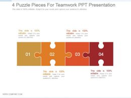 4 Puzzle Pieces For Teamwork Ppt Presentation