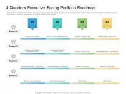 4 Quarters Executive Facing Portfolio Roadmap Timeline Powerpoint Template