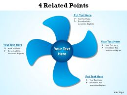 4 related points turbine windmill fan ppt slides presentation diagrams templates powerpoint info graphics