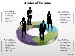 4 sides of the issue connected arrows silhouettes slides diagrams templates powerpoint info graphics