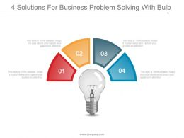 4 Solutions For Business Problem Solving With Bulb Powerpoint Ideas