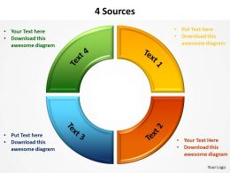 4 sources shown by circle pie chart split up powerpoint diagram templates graphics 712