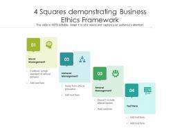 4 Squares Demonstrating Business Ethics Framework